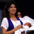 Princess Caroline with a newborn Andrea