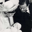 Princess Margrethe, Prince Henrik and Prince Frederik at the latter's christening in 1968