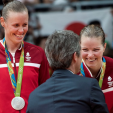 Crown Prince Frederik presents silver medals to the Danish badminton team