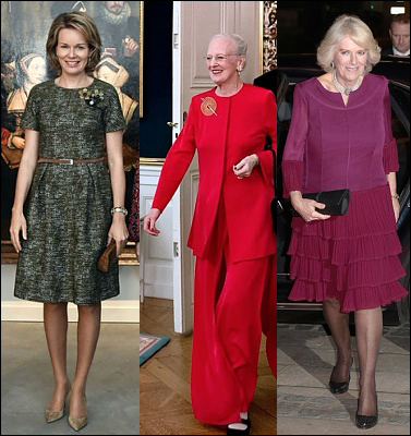 (L-R) Queen Mathilde, Queen Margarethe and The Duchess of Cornwall.