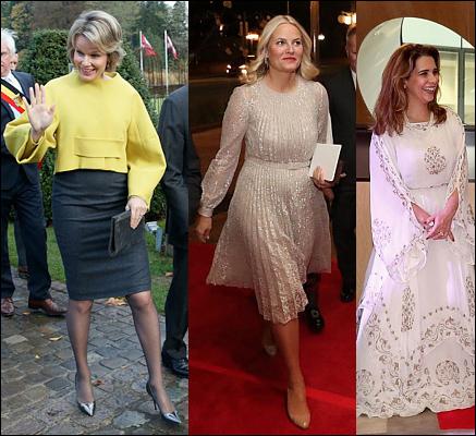 (L-R) Queen Mathilde, Crown Princess Mette-Marit and Princess Haya.