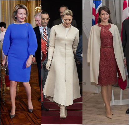 (L-R) Queen Mathilde, Princess Charlene and Crown Princess Mary.