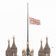 The Union Jack flying half-mast