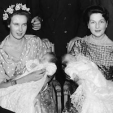 Prince Dimitri and Prince Michael of Yugoslavia with their godmothers, Princess Maria Gabriella of Savoy and the Countess of Clermont