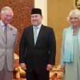 The Prince of Wales, Sultan Muhammad V of Kelantan, and The Duchess of Cornwall